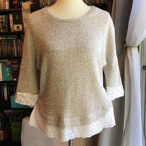 Anthropologie Sweater with Eyelet Trim